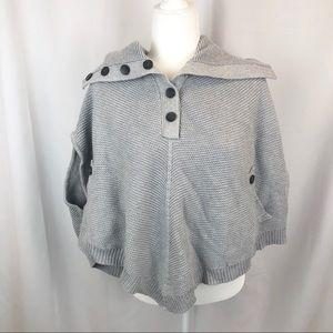 Banana Republic gray knit button neck poncho cape